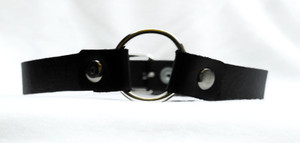 Black Leather Choker With Single Ring