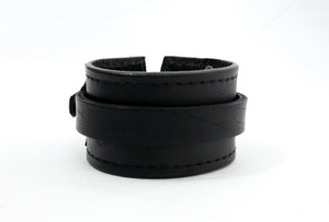 Black Leather Bracelet With Double Band