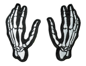 """Skeleton Hands Pair 5"""" Embroidered Patch"""