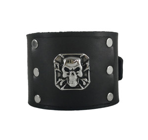 Black Leather Bracelet With Metal Skull