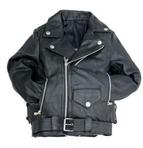 Black Leather Biker Kids Jacket