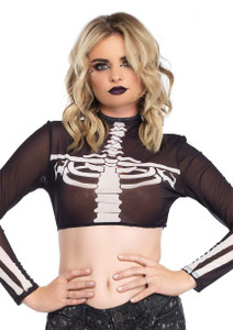 Skeleton High Neck Crop Top With Zipper Back