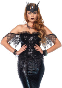 Bustier Dark Siren Dress With Net Accents