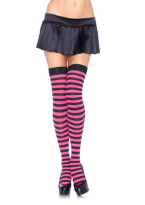 Striped Nylon Thigh Highs