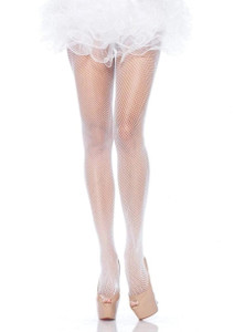 White Nylon Fishnet Pantyhose