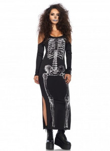 Black Skeleton Death Print Dress