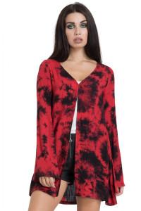 Womens Red Tie-Dye Kimono
