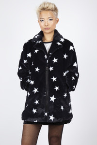Black Star Faux Fur Jacket