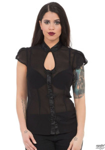 Black See-through Keyhole Neckline Top