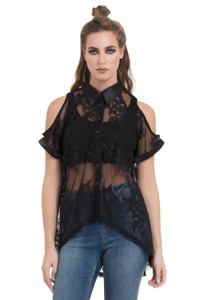 Womens Sheer Embroidered Lace Shirt