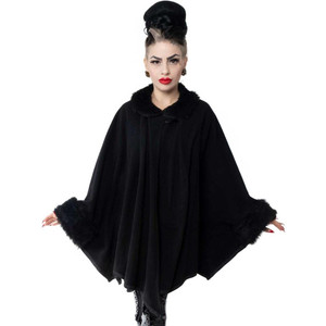 Black Fur Glamour Ghoul Web Cape