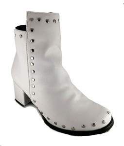 White Vegan Leather Heeled Boots