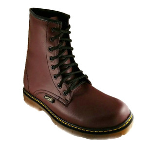 Cherry Leather Combat Boots
