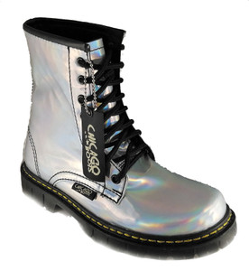 Holographic Vegan Leather Combat Boots