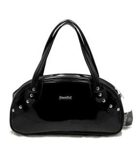 Black Patent Leather Handbag With Stud Detail