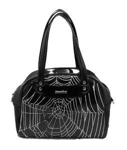 Spiderweb Black Patent Leather Handbag