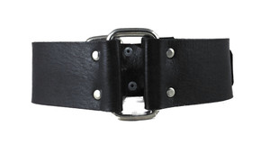 Black Leather Choker w/ Square Ring