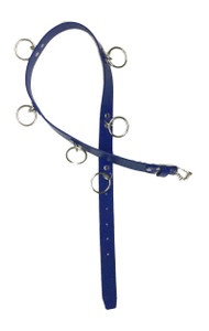 Blue Womens Leather Belt with O Rings