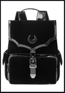 Nyah Black Velvet Backpack