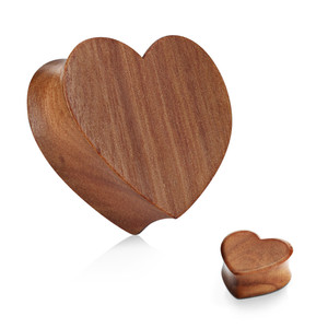 2x Heart Flesh Tunnel Plug Ear made on Wood
