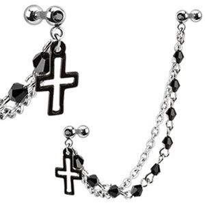 Cross with Stud Chain Earring