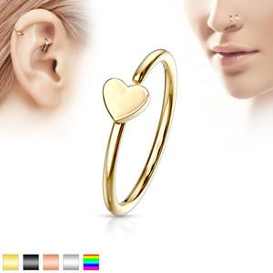 Nose Hoop Heart Stud Piercing