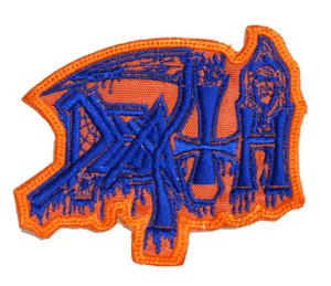"Death - Orange Cobweb 4x3"" Embroidered Patch"