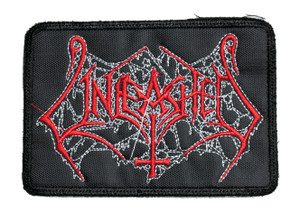 "Unleashed - Red Cobweb 4x3"" Embroidered Patch"