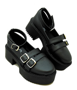 Black Strappy Platform Shoes with Buckles
