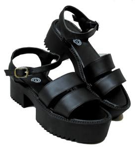 Black Open Toe Strapped Platform Sandals