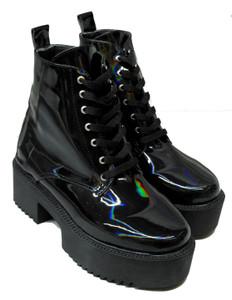 Black Holographic Platform Boots