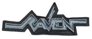 """Raven Grey Logo 5.5x2.5"""" Embroidered Patch"""