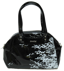Black Bat Sky Patent Leather Handbag