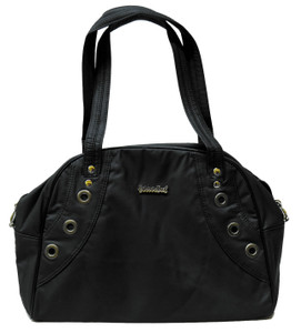 Black Vegan Leather Handbag with Eyelets