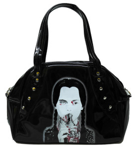 Merlina Addams Black Patent Leather Handbag