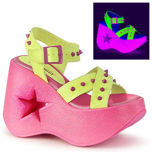 Neon Women's Star Cutout Platform Sandals by Demonia