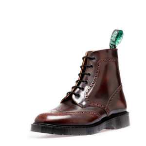 Solovair - 6 Eye Brogue Boot in Burgundy Rub *Made in England*