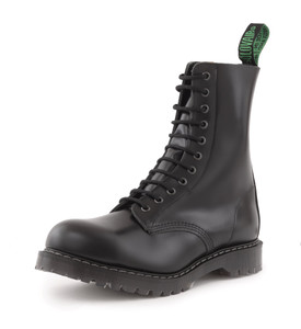 Solovair - 11 Eye Steel Toe Derby Boot in Black *Made in England*