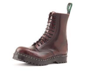 Solovair - 11 Eye Steel Toe Derby Boot in Burgundy *Made in England*