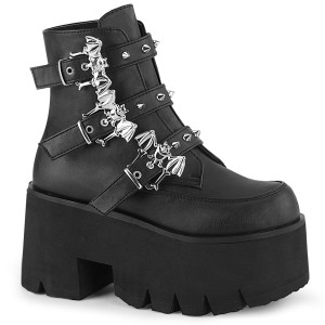 Cut Out Platform Ankle Boot Studded Bat Buckle Straps by Demonia
