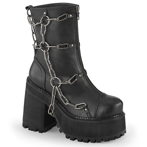 Cleated Platform Ankle Boot w/ Metal Cage Chain by Demonia