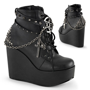 Wedge Platform Lace-Up Front Ankle Bootie by Demonia