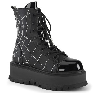 Platform Lace-Up Front Ankle Boot With Spiderweb  by Demonia