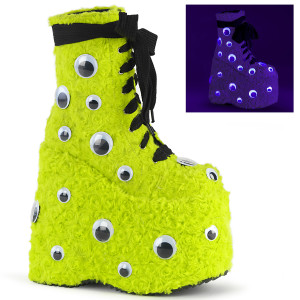Platform Ankle Boot With Scattered Googly Eyes by Demonia