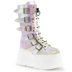 Platform Mid-Calf Boot W/ Cone-Studded Buckle Straps by Demonia