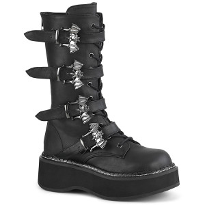 Platform Mid-Calf Boot With Bat Buckle Straps by Demonia