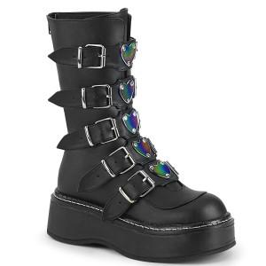 Metal Heart Buckles Vegan Black Platform Boots by Demonia