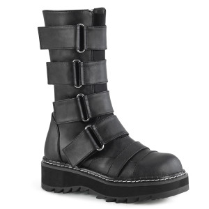 Platform Mid-Calf Boot With Elastic Front Panel by Demonia