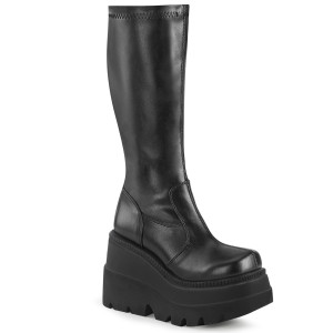 Wedge Platform Stretch Knee High Boot by Demonia
