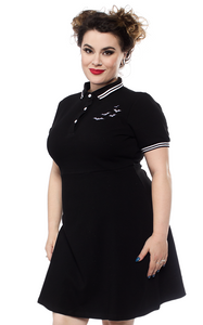 Black Ladies Bat Gothic Polo Dress